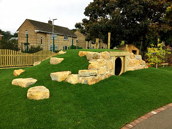 Bespoke Grass Mound for School Playground Area