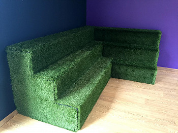 Indoor Artificial Grass Seating Area